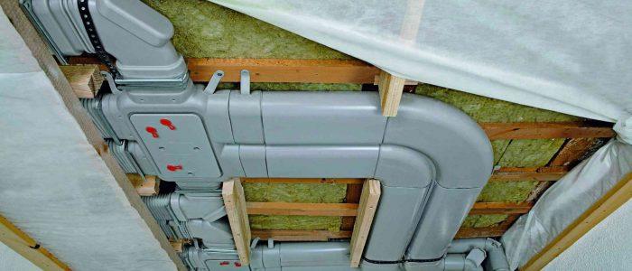Установка пластиковых воздуховодв в частном доме